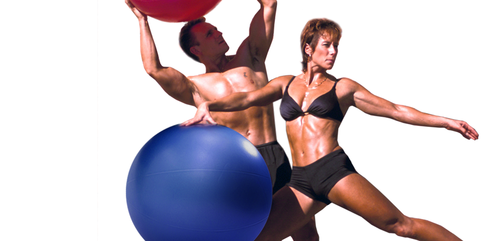 bodybuilders pose with swiss exercise ball