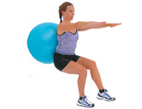 wall ball squats with swiss exercise ball finish