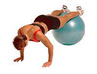 prone kneepullin exercise on swissball
