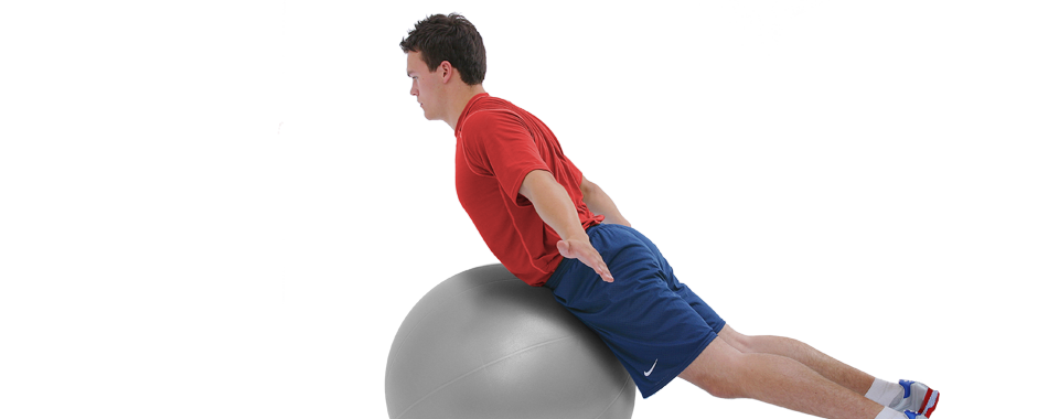 back extension exercise on swiss ball