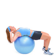 exercise on swissball with white bg