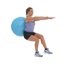 fitness exercise wall-ball-squats with support of swiss ball